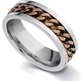Stainless Steel Ring with Chocolate Immerse Plating