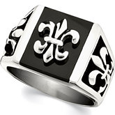 Stainless Steel Fleur-de-lis Ring with Black Enamel
