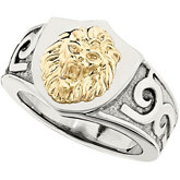 Stainless Steel Ring with 10kt Yellow Lions Head