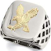 Stainless Steel Ring with 10kt Yellow Eagle