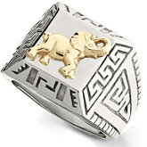 Stainless Steel Ring with 10kt Yellow Elephant and Greek Key