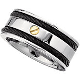 Titanium & 14kt Yellow Band with Black Immerse Plate
