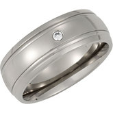 8.0mm Titanium Band & .05 ct Diamond
