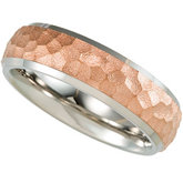 7.0mm Titanium Hammered Band with 14kt Rose Immerse Plate