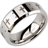 8.3mm Dura Tungsten® Beveled Band with Black Laser Crosses