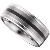 8.3mm Dura Tungsten® Ridged Band with Black Enamel and Satin Center
