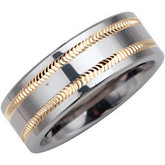 8.3mm Dura Tungsten® Band with Diamond Cut 14KT Yellow Gold Inlay