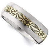 8.3mm Dura Tungsten® Domed Band with 14KT Yellow Shakudo Mokume Gane Inlay
