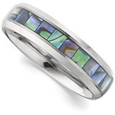 6.3mm Dura Tungsten® Beveled Band with Abalone Shell Inlay