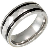 8.3mm Dura Tungsten® Faceted Dome Band with Black Enamel Inlays