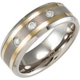 8.3mm Dura Tungsten® 1/10 ct tw Diamond Beveled Band with Gold Immersion Plated Stripes