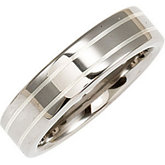 6.3mm Dura Tungsten® Flat Band with Sterling Silver Inlay