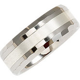 8.3mm Dura Tungsten® Flat Beveled Band with Sterling Silver Inlay