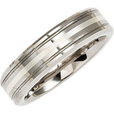 6.3mm Dura Tungsten® Grooved Satin Band with Sterling Silver Inlay