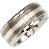 10mm Dura Tungsten® Ridged Beveled Satin Band with Sterling Silver Inlay