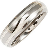 6.3mm Dura Tungsten® Domed Satin Band with Sterling Silver Inlays