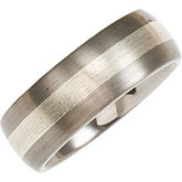 8.3mm Dura Tungsten® Domed Satin Band with Sterling Silver Inlay