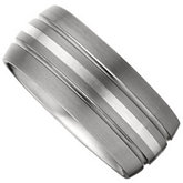 10mm Dura Tungsten® Slight Domed Satin Band with Sterling Silver Inlay