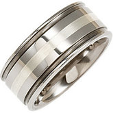10mm Dura Tungsten® Grooved Band with Sterling Silver Inlay