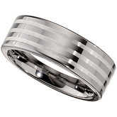 Dura Tungsten® & Sterling Silver Inlay Flat Band