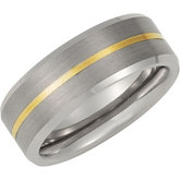 8.3mm Dura Tungsten® Beveled Band with 14KT Yellow Inlay