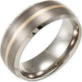 8.3mm Dura Tungsten® Domed Beveled Satin Band with 14KT Yellow Inlay