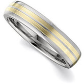 4.3mm Dura Tungsten® Domed Band with 14KT Yellow Inlays