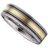 7.3mm Dura Tungsten® Flat Black Antiqued Band with 14KT Yellow Gold Inlay
