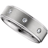 8.3mm Dura Tungsten® Ridged .10 ct tw Diamond Band