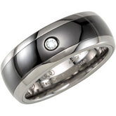 8.3mm Dura Tungsten® .05 ct Diamond Accented Ceramic Couture™  Inlay Dome Band