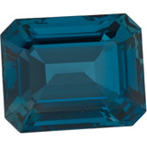 Emerald/Octagon Genuine London Blue Topaz
