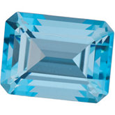 Emerald/Octagon Genuine Ice Blue  Topaz