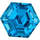 Hexagon Genuine Swiss Blue Topaz