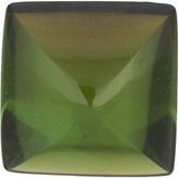 Square Genuine Cabochon Green Tourmaline