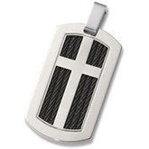 Titanium Cable Dog Tag Pendant with Cross