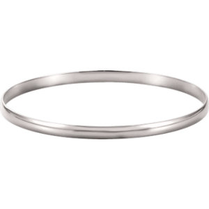 14kt White 4mm Half Round<br> Bangle Bracelet