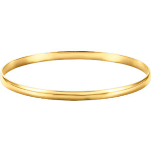 14kt Yellow 4mm Half<br> Round Bangle Bracelet