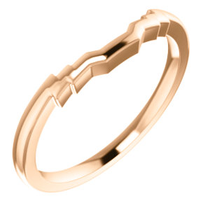 14kt Rose Band for 6x4mm Emerald Ring
