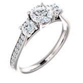 3-Stone Accented Engagement Ring