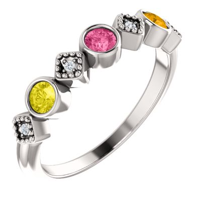Bezel Set Stackable Family Ring