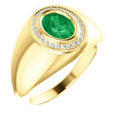 Men's Chatham® Created Emerald & Diamond Ring or Mounting