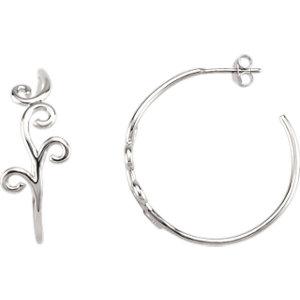 Scroll Design Hoop Earrings