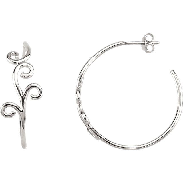 Sterling Silver Scroll Design Hoop Earrings