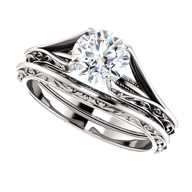14kt White 6.5mm Round Engagement Ring Mounting