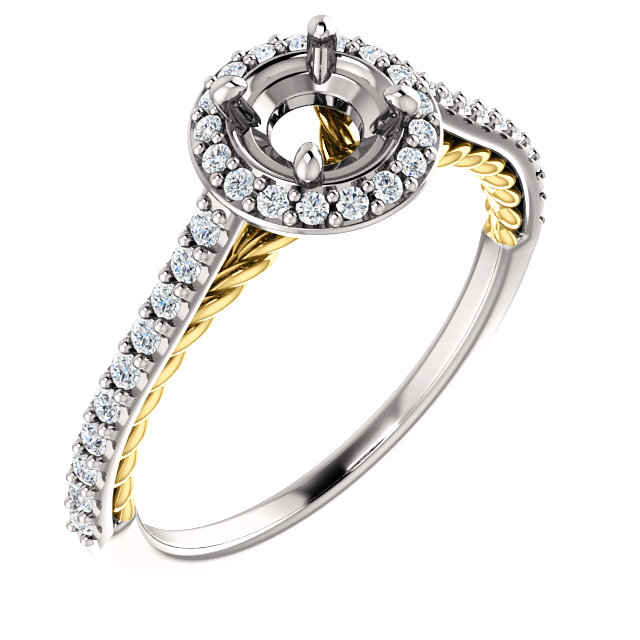 14kt White & Yellow 1/4 CTW Diamond Semi-mount Engagement Ring for 5.2mm Round Center
