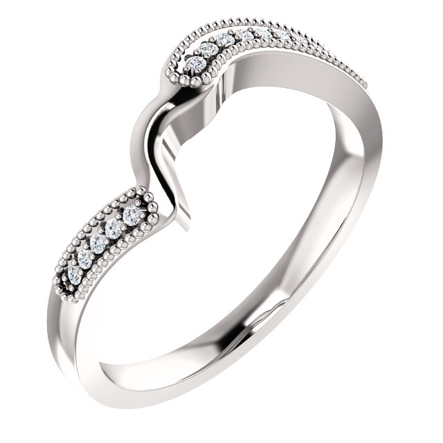 14K White .06 CTW Diamond Band for 3.5-5.2mm Round Ring