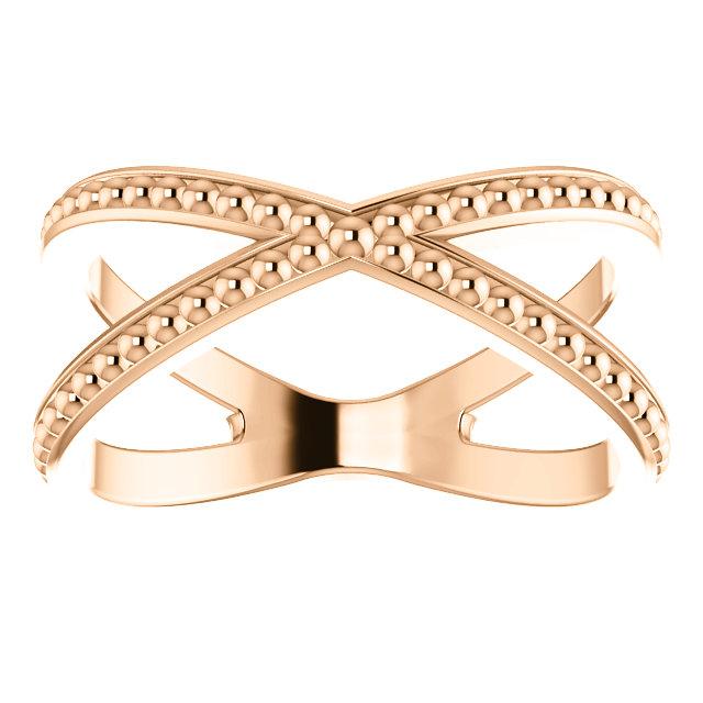 14kt Rose Beaded Criss-Cross Ring