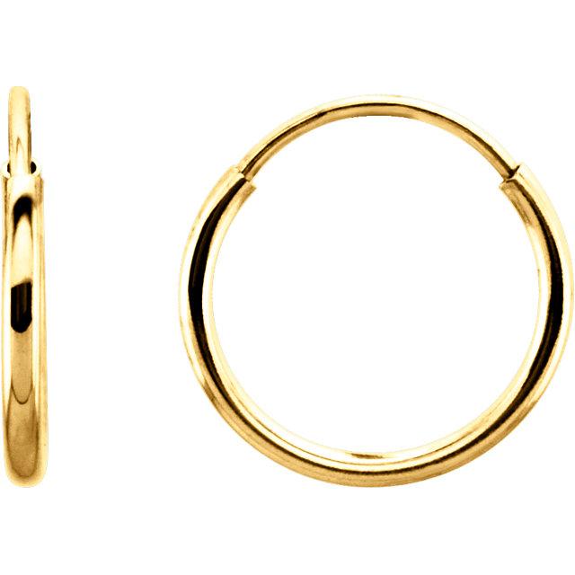 14K Yellow 10mm Endless Hoop Earrings