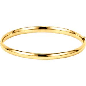 14kt Yellow 4.75mm Hinged Bangle Bracelet