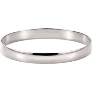 14kt White  mm Half Round Bangle Bracelet